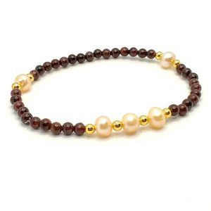 Jewelry - New! Commitment Bracelet Natural Garnet & Pearls